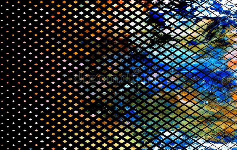 blå och brun ritad textur med abstrakta figurer i mörk bakgrund, illustrationer royaltyfri bild