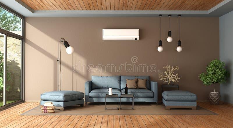 Blå och brun vardagsrum med luftkonditioneringsapparaten vektor illustrationer