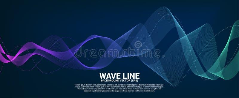 Blå och grön linje kurva för solid våg på mörk bakgrund arkivfoto