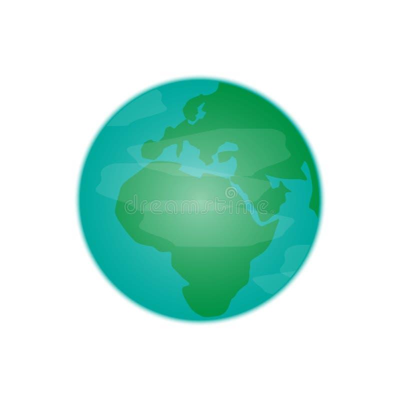 Blå och grön planetjord med moln royaltyfri illustrationer