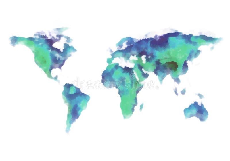 Blå och grön världskarta, vattenfärgmålning royaltyfri illustrationer