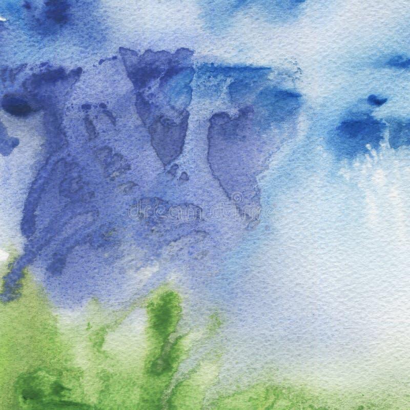 Blå och grön vattenfärgabstrakt begrepptextur royaltyfri illustrationer