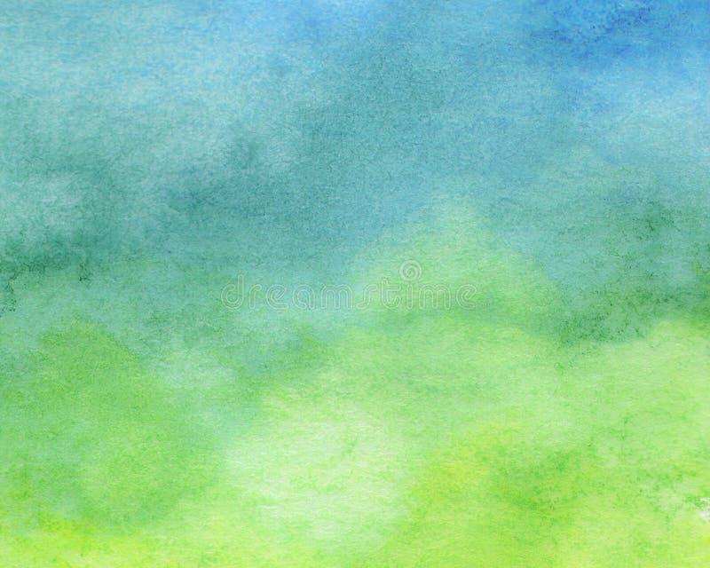 Blå och grön vattenfärgbakgrund - abstrakt textur stock illustrationer