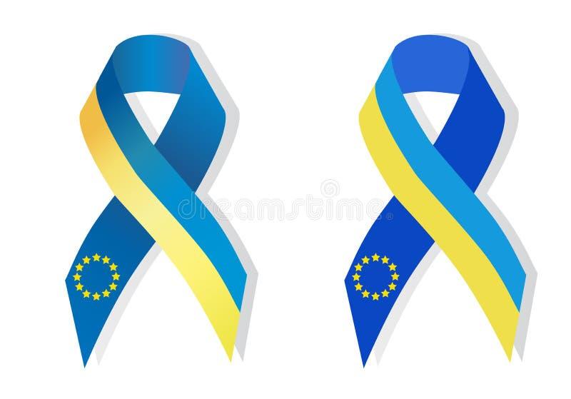 Blå och gul bandmedvetenhet royaltyfri illustrationer