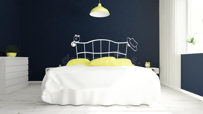 blå och gul huvudgavel för modernt sovrum royaltyfri illustrationer
