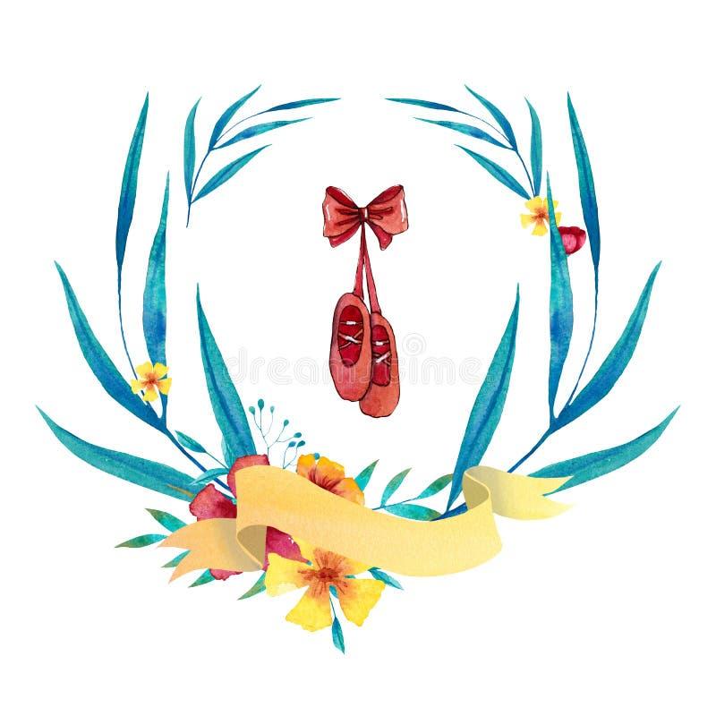 Blå och gul krans för vattenfärg med balettskor, banret, blommor, sidor och filialer stock illustrationer