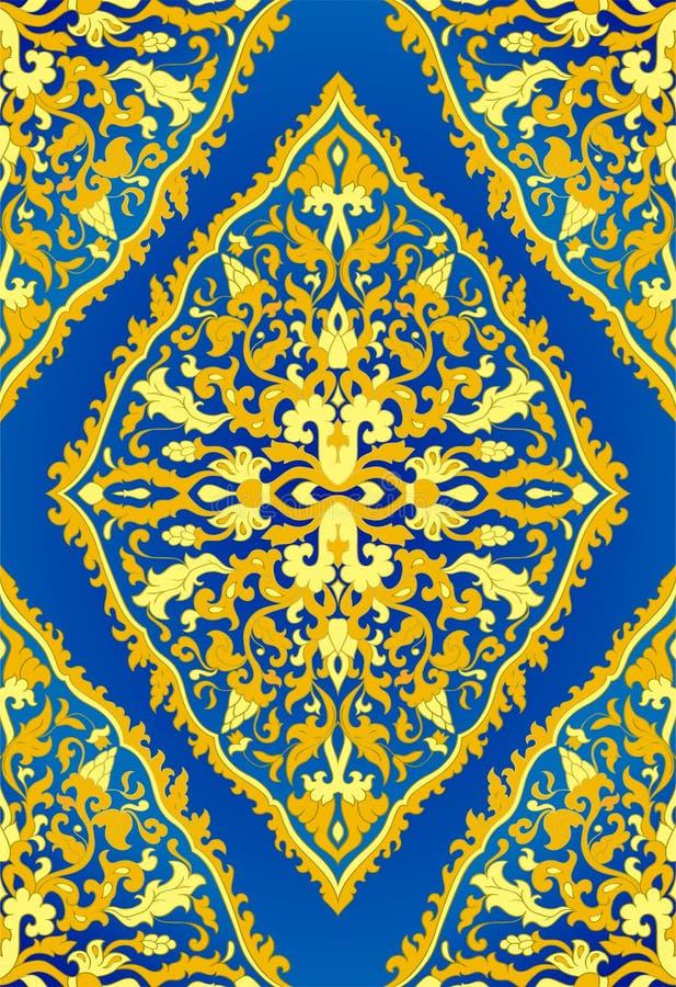Blå och gul orientalisk modell stock illustrationer