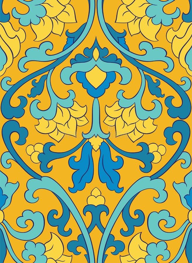Blå och gul orientalisk modell vektor illustrationer