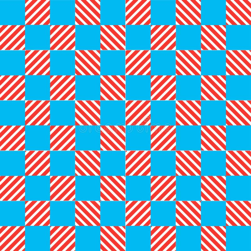 Blå och gul texturschackmodell vektor illustrationer