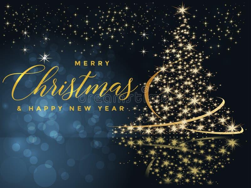 Blå och guld- julbakgrund med glad jul för text och illustrationen för lyckligt nytt år stock illustrationer