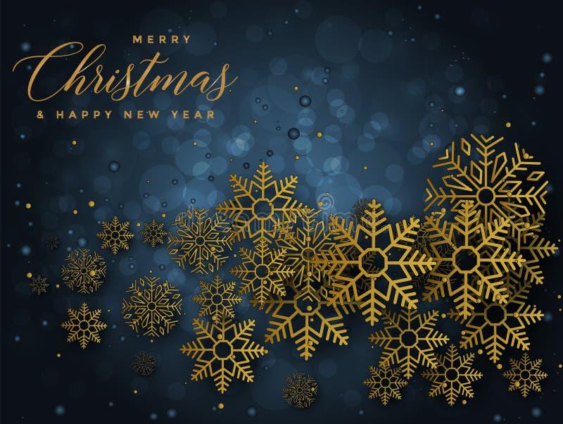 Blå och guld- julbakgrund med glad jul för text och illustrationen för lyckligt nytt år royaltyfri illustrationer