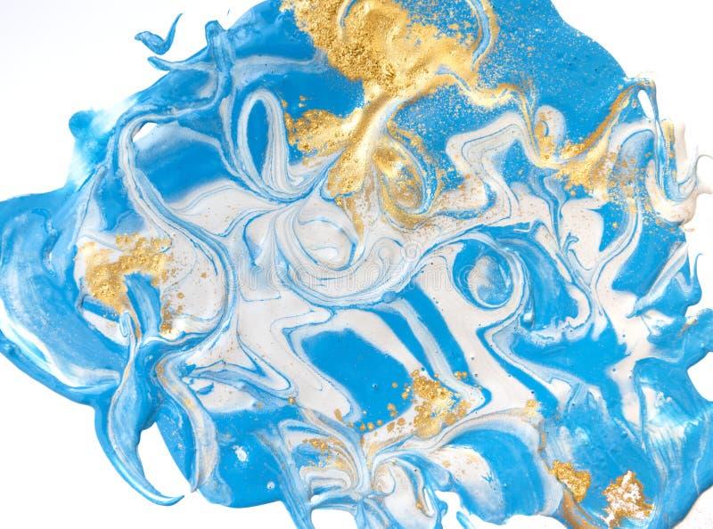 Blå och guld- vätsketextur Dragen hand marmorera bakgrund Modell för färgpulvermarmorabstrakt begrepp arkivbild