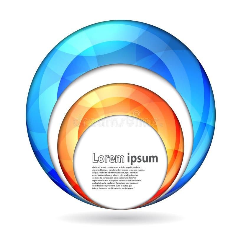 Blå och orange sfär för abstrakt virvelenergi stock illustrationer