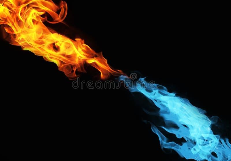Blå och röd brand royaltyfri bild