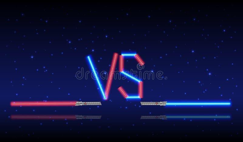 Blå och röd för neon logo kontra vektor illustrationer