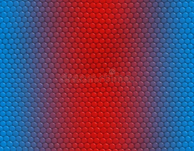 Blå och röd modell för lutningormleguan, sexhörnig skala arkivfoto