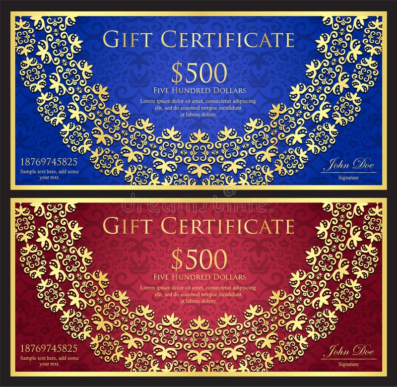 Blå och röd presentkort för lyx med rundat stock illustrationer
