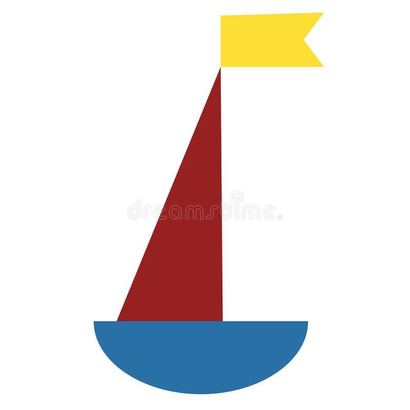 Blå och röd skeppillustration på vit bakgrund royaltyfri illustrationer