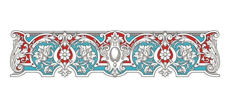 Blå och röd tappningramvektor 1005 vektor illustrationer