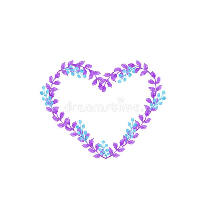 Blå och violett hjärtaram för vattenfärg vektor illustrationer