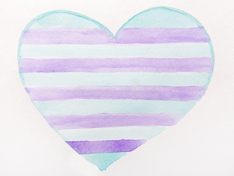 Blå och violett hjärtavattenfärg royaltyfri illustrationer