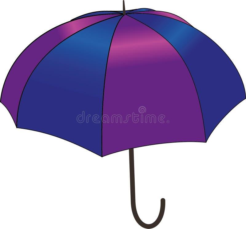 Blå och violett paraplyvektorillustration royaltyfri bild