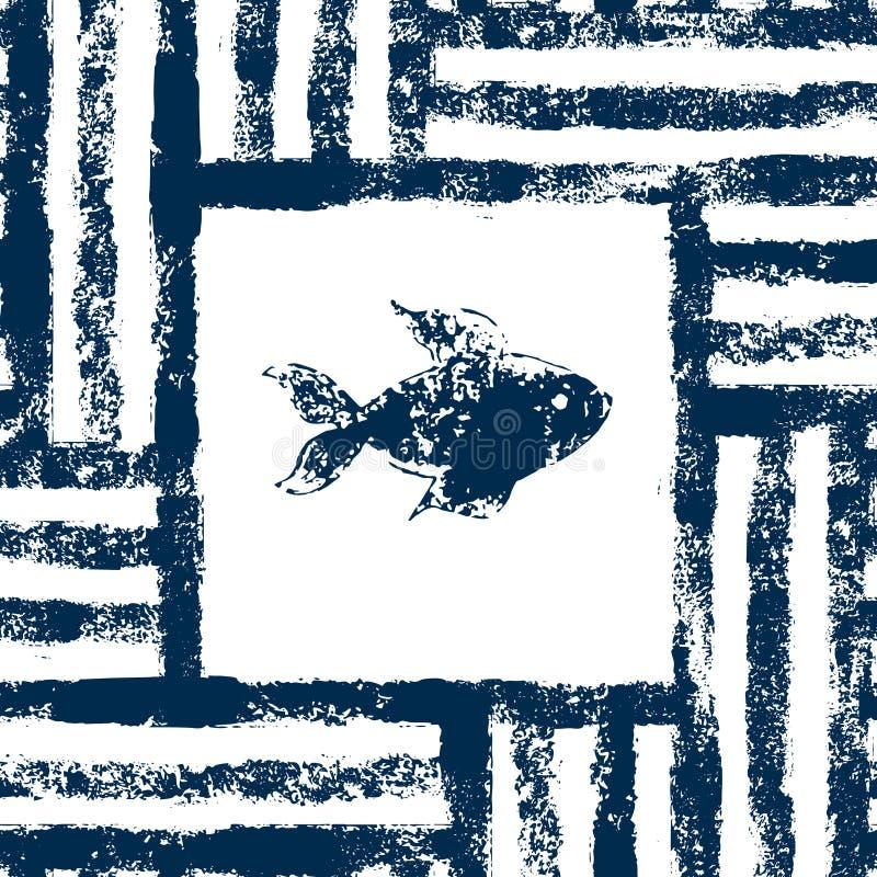 Blå och vit fisk i en randig ram vävd sömlös modell för grunge, vektor royaltyfri illustrationer