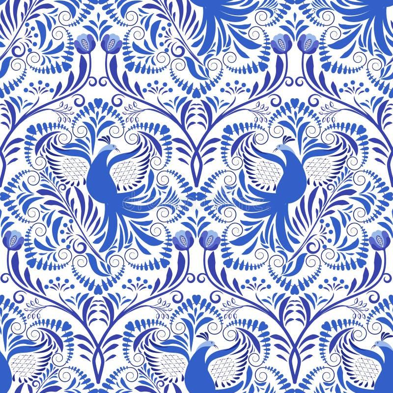Blå och vit modell som är sömlös med blommor och fåglar Bakgrund som baseras på den nationella målningen på porslin stock illustrationer