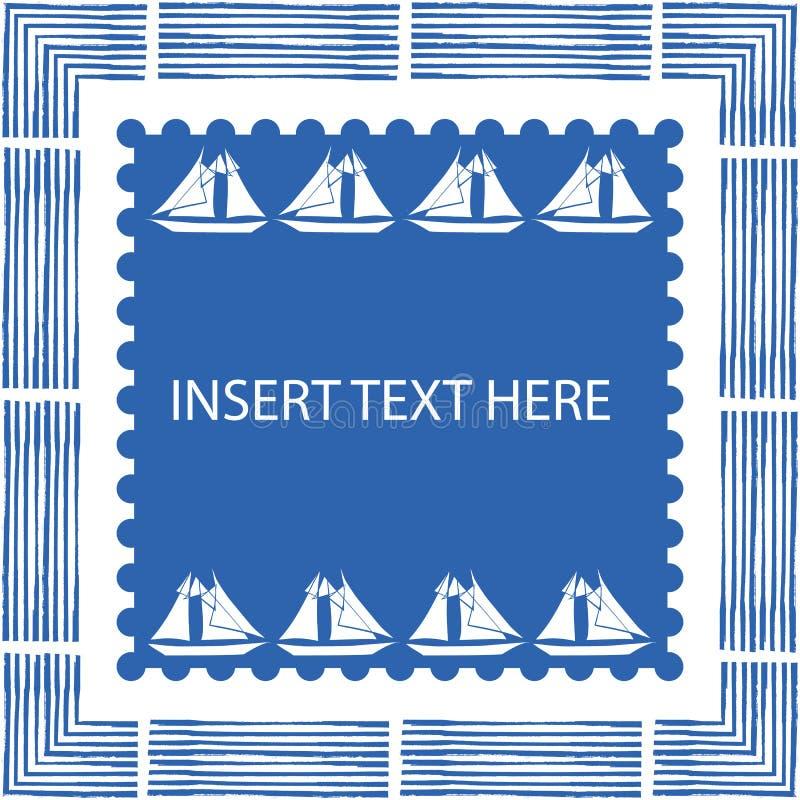 Blå och vit nautisk ram med borstebeståndsdelar och utdragna segelbåtar för hand i fyrkantig mitt med den langetterade kanten royaltyfri illustrationer