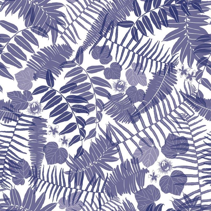 Blå och vit sömlös modell för vektor med genomskinliga ormbunkar, sidor och den lösa blomman Passande för textilen, gåvasjal och vektor illustrationer