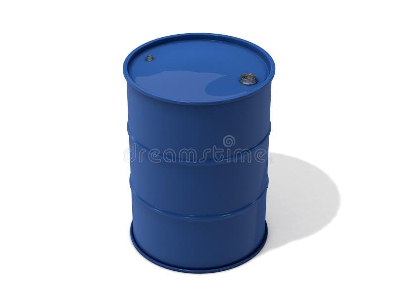 Blå olje- trumma på vit bakgrund royaltyfri illustrationer