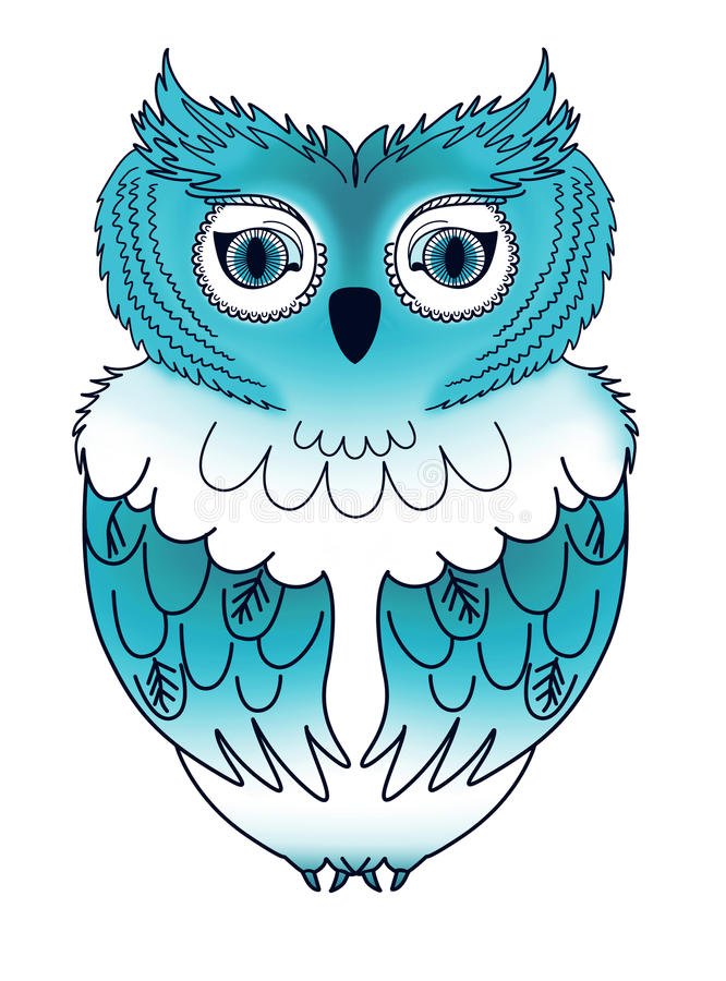 blå owl royaltyfri illustrationer
