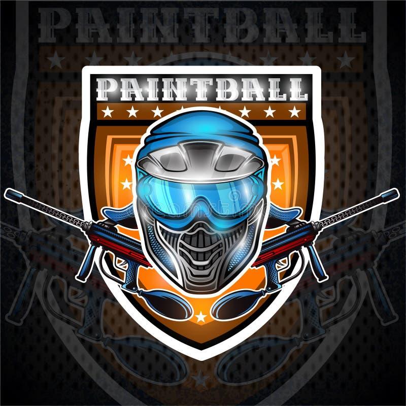 Blå paintballmaskering med vapen i mitten av skölden Sportlogo för någon lag eller turnering på svart royaltyfri illustrationer