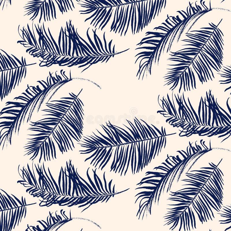 Blå palmbladmodell stock illustrationer