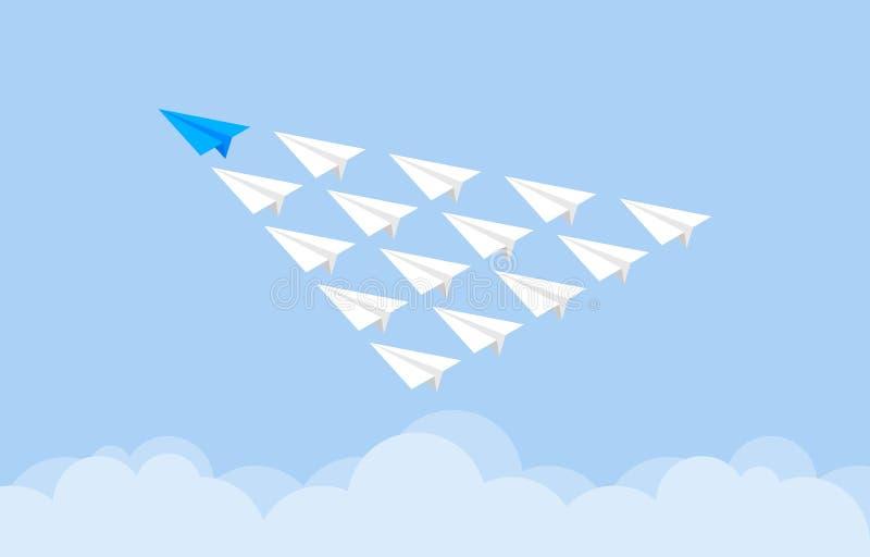 Blå pappers- nivå som leder den pappers- plana gruppen vektor illustrationer