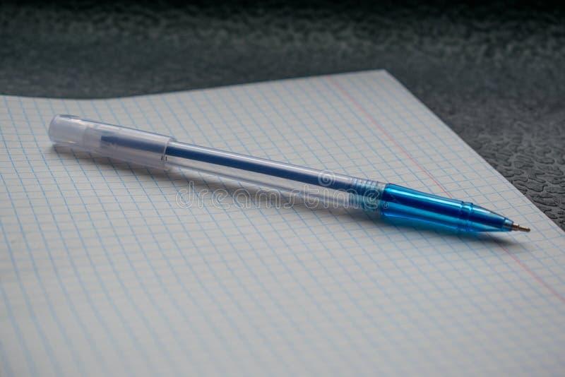 Blå penn- och vitanteckningsbok i en bur på en svart bakgrundsnärbild royaltyfria foton