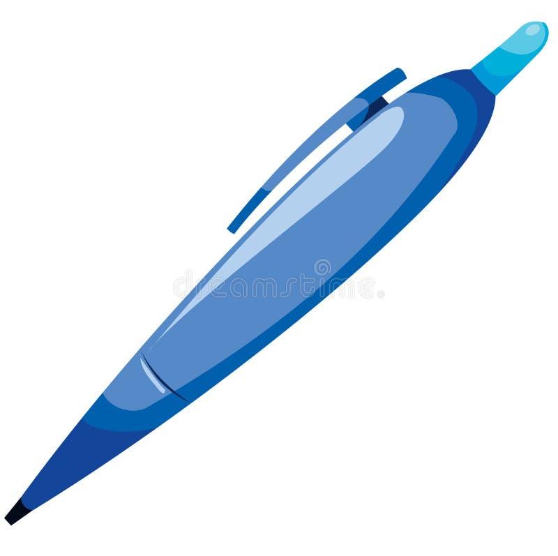 blå penna stock illustrationer