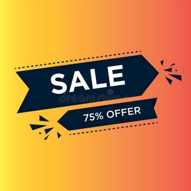 Blå pilvänstersida och rätt med den 75% rabatten i orange bakgrund Design f?r Sale banermall Specialt erbjudande f?r stor f?rs?lj vektor illustrationer