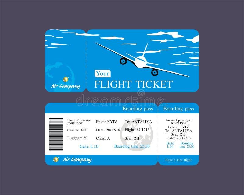 Blå plan biljett för design, plan vektorillustration, affärsflyg över hela världen royaltyfri illustrationer