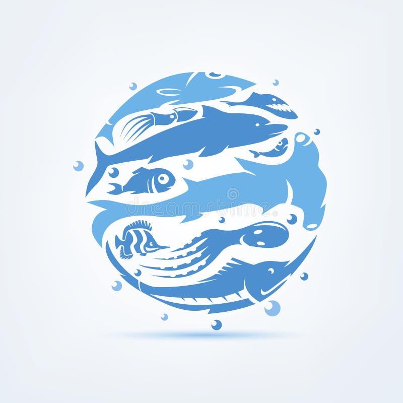 Blå planetsealife stiliserade vektorsymbol, uppsättningen av symboler och sy vektor illustrationer