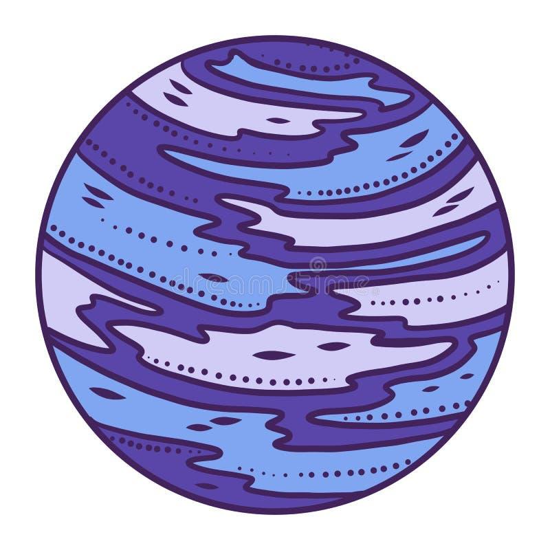 Blå planetsymbol, utdragen stil för hand royaltyfri illustrationer