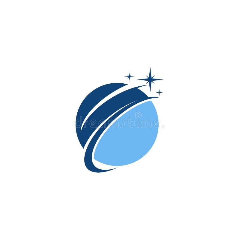 Blå planetvektorlogo stock illustrationer