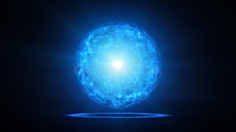 Blå plasmaboll med energiladdningar i studio royaltyfri illustrationer