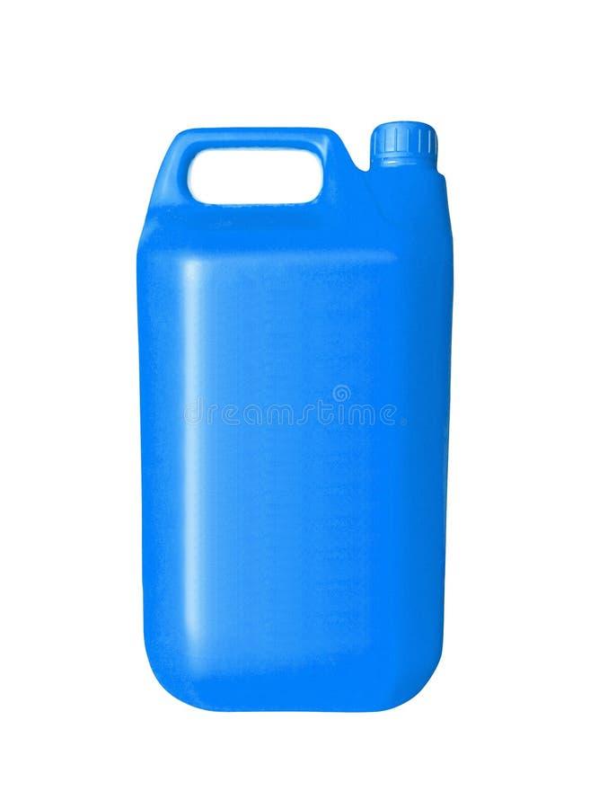 Blå plast- bensindunk på vit royaltyfri foto