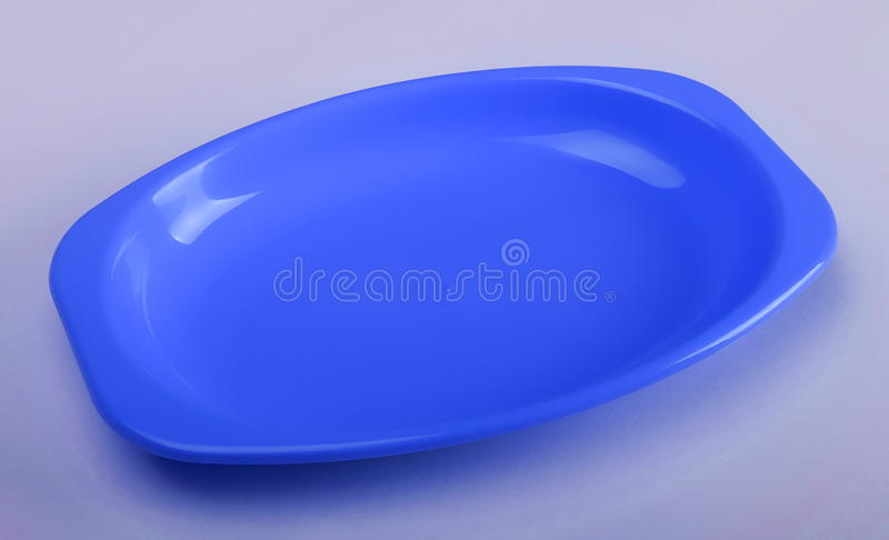 Blå plast- bordsservis royaltyfri bild
