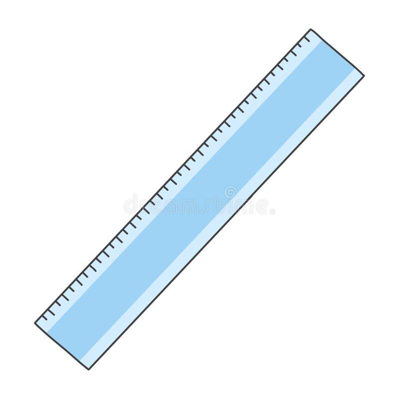 blå plastic linjal Gullig hand dragen illustration Vit bakgrund royaltyfria foton
