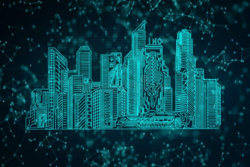 Blå polygonal stadsbakgrund stock illustrationer