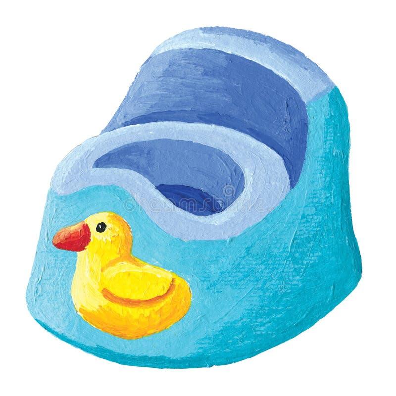 Blå potta med den gula anden stock illustrationer