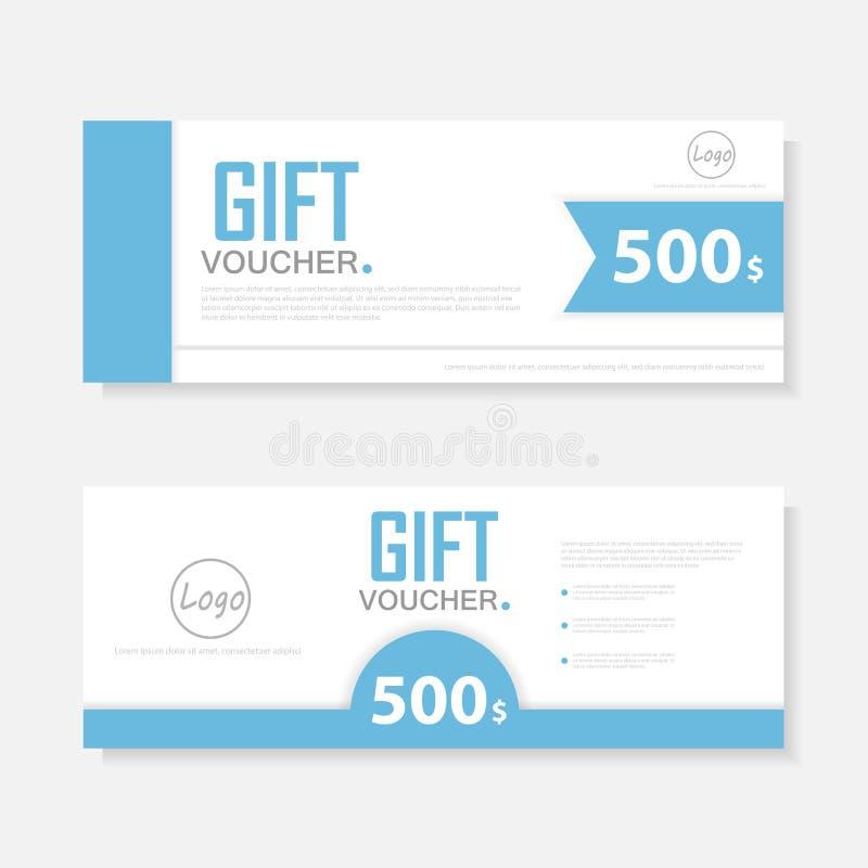 Blå presentkortmall med den färgrika modellen, gullig mall för design för presentkortcertifikatkupong vektor illustrationer