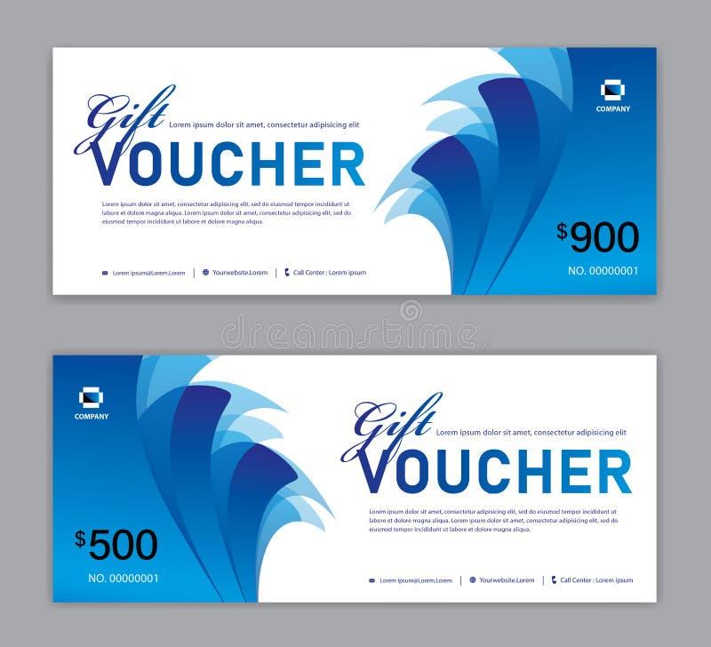 Blå presentkortmall, Sale baner, horisontalorientering, rabattkort, titelrader, website, blå bakgrund, vektor stock illustrationer